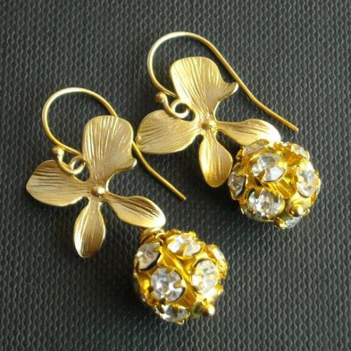 Bridal Earrings Gold Jewelry Swarovski Crystal Wedding