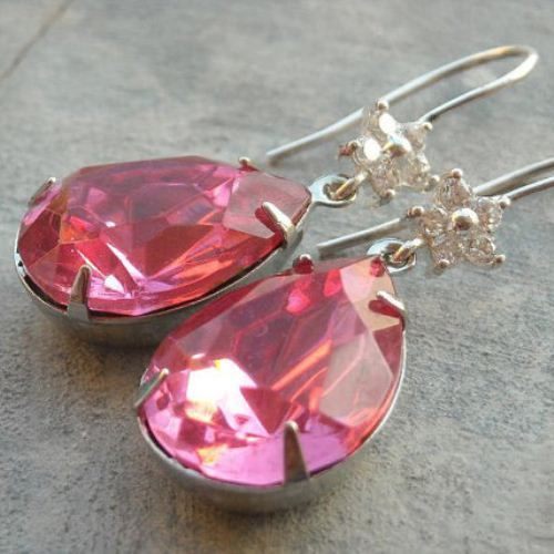 Bridal earrings Pink crystal earrings