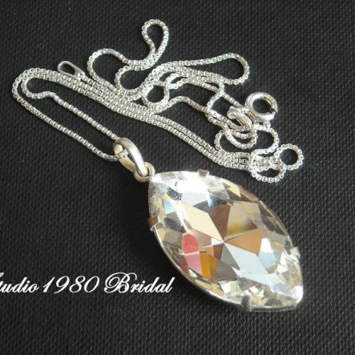 Bridal necklace Crystal pendant