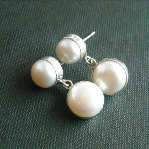 Handmade Pearl Earrings Jewelry Post Sterling Silver