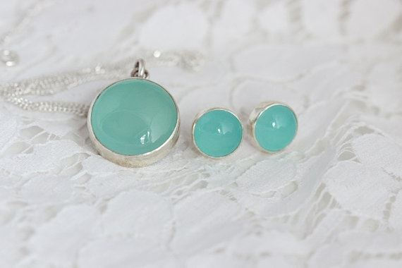 Bridesmaid gifts Aqua chalcedony pendant