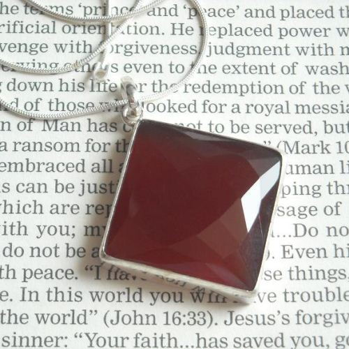 Brownish red chalcedony pendant necklace