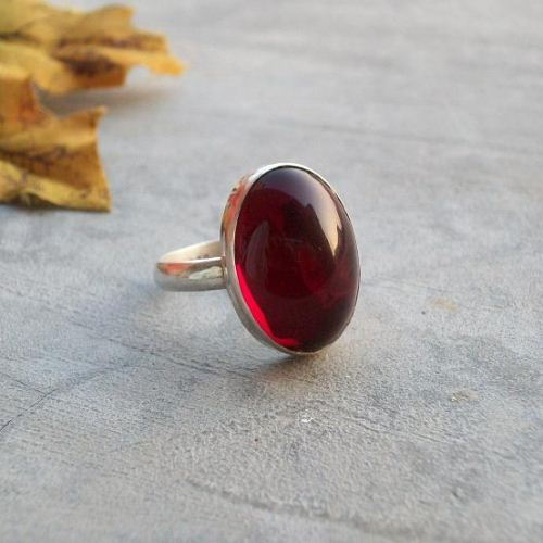Buy Cabochon Garnet Ring Red Jewel Ring Silver Garnet