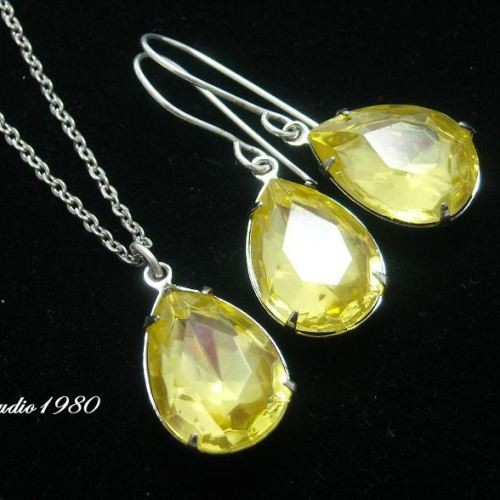 Canary yellow bridal jewelry bridemaids gifts