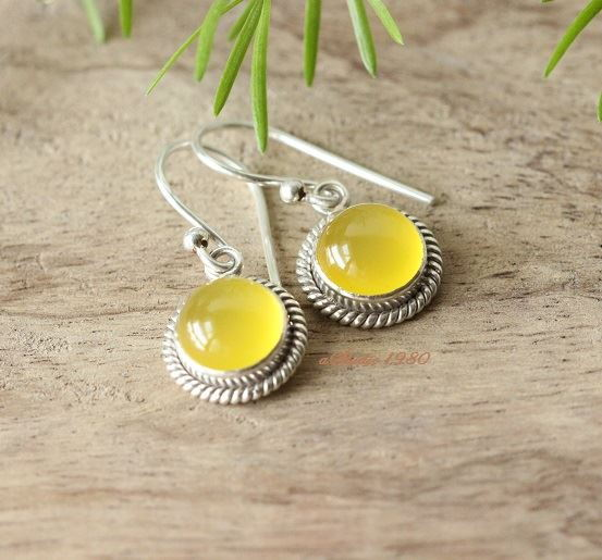 Canary yellow earrings Artisan silver