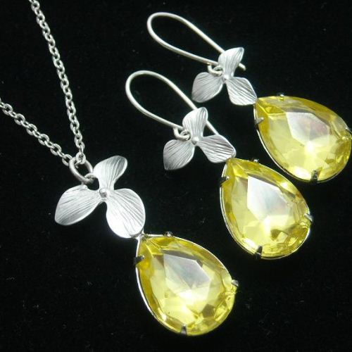 Canary yellow necklace Swarovski crystal