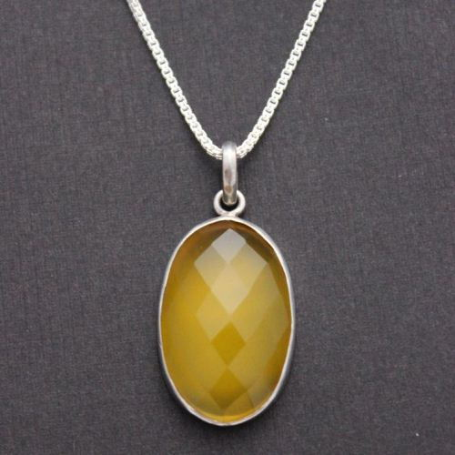 Canary yellow pendant Oval pendant