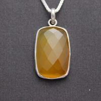 Canary yellow pendant - Rectangle pendant necklace - Yellow Chancedony