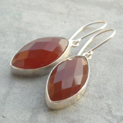Carnelian Earrings Jewelry Marquise Handmade Sterling Silver Gemstone
