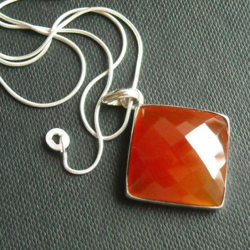Carnelian pendant necklace square pendant