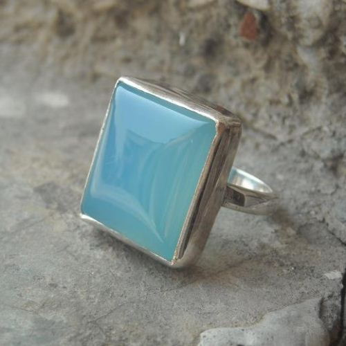 Chalcedony Jewelry Chalcedony ring Square ring