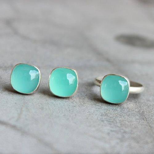Buy Chalcedony Studs Aqua Stud Earrings Chalcedony