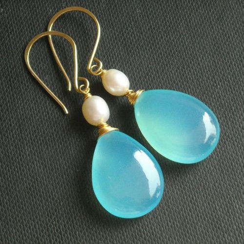 Chalcedony drop earrings Aqua earrings