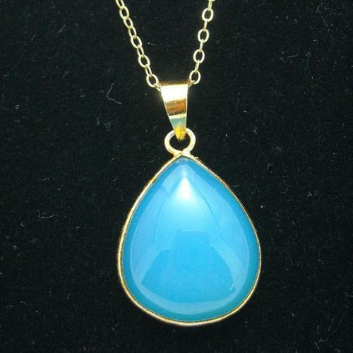 Chalcedony pendant Chalcedony necklace Vermeil necklace sterling silver