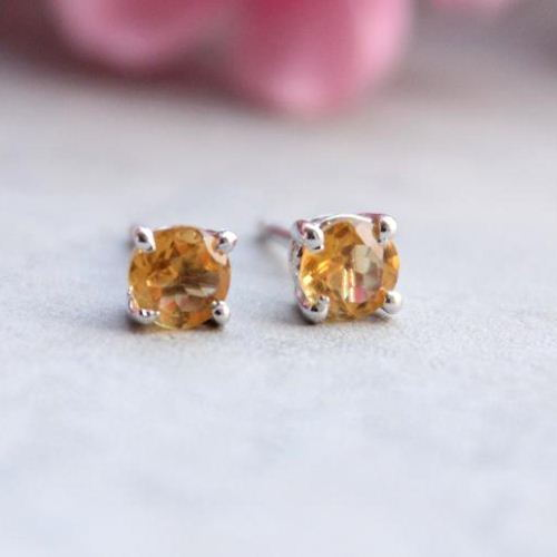Citrine stud earrings Sterling silver