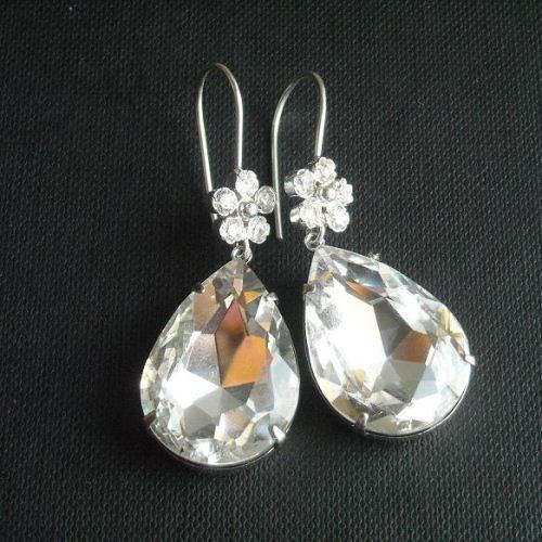 Crystal bridal earrings sterling silver