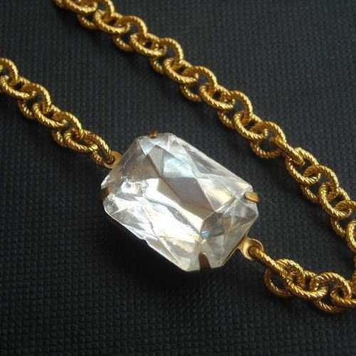 Crystal clear Octagon vintage brass golden bracelet