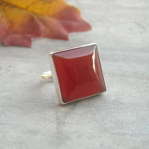Cushion cut square carnelian ring