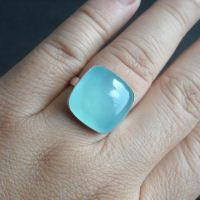 Cute sea green chalcedony ring - cushion cut square shape gemstone