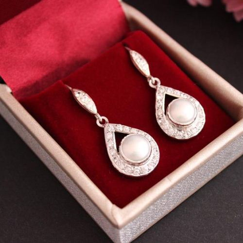 Cz earrings Pearl earrings Bridal