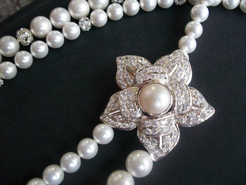 Cz necklace White pearl necklace