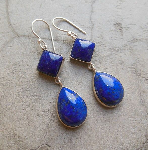 Dangler earrings Lapis lazuli earrings