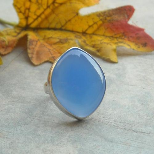 Dark blue chalcedony ring marquise