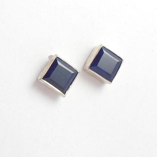 Dark Blue Shire Earrings Stud Square Silver Studs Online At Astudio1980