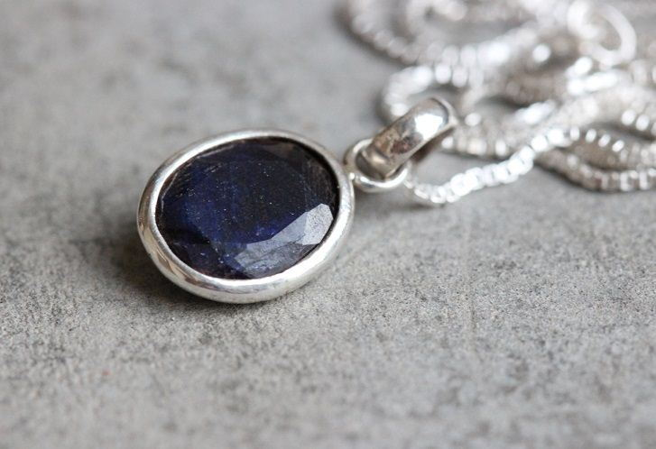 Buy dark blue sapphire silver necklace handmade silver jewelry dark blue sapphire necklace aloadofball Image collections