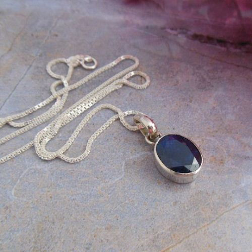 Dark Blue Shire Pendant Necklace Silver Oval