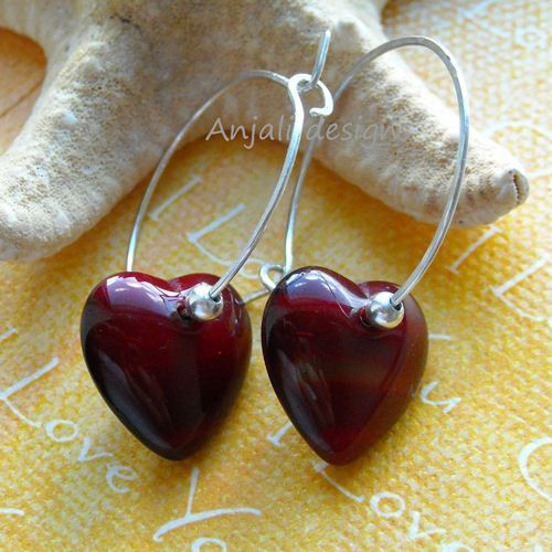 Designer Love is In the Air Sterling Silver Red Heart Hoop earrings