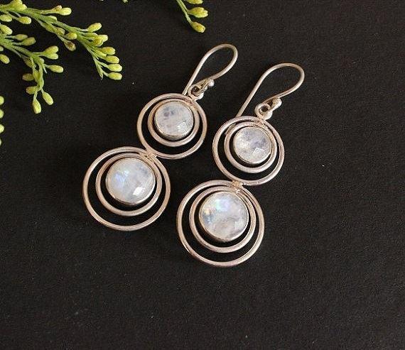 Designer Moonstone Earrings Dangle Handmade Silver Jewelry Online At Astudio1980