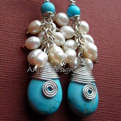 Designer Sterling silver gemstoneTurquoise white pearl earrings