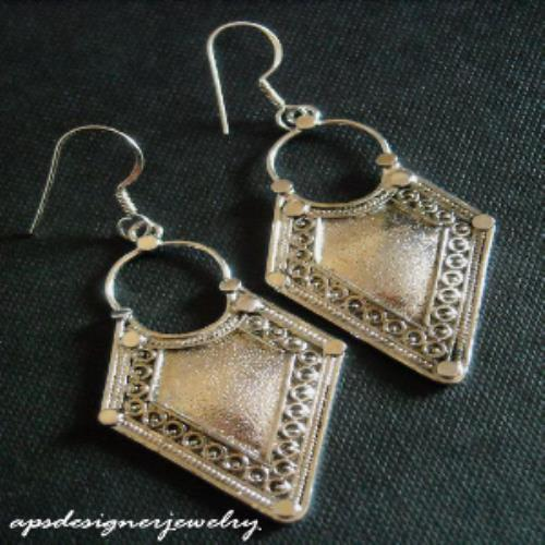 Designer Sterling silver solid shield design earrings