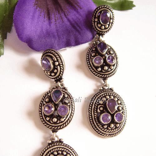 Designer Unique Amethyst Silver Oxidize Earrings