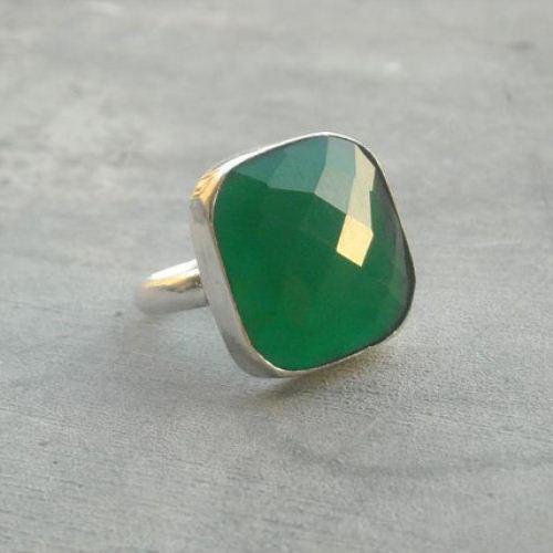 emerald green ring gemstone ring sterling silver ring