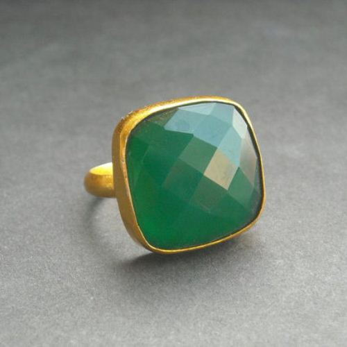 c97f2363e Emerald green ring - Gold vermeil ring - Green Onyx ring - Faceted