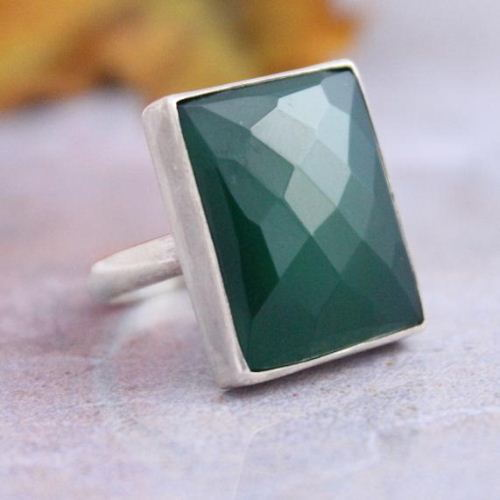 Buy Emerald Green Ring Rectangle Gemstone Green Onyx