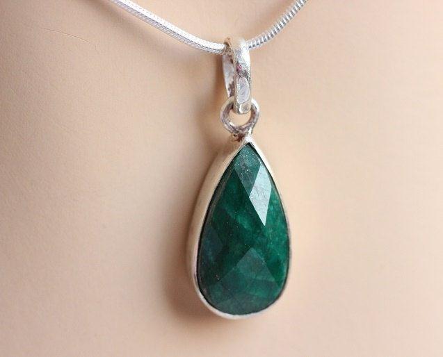 Buy emerald pendant necklace tear drop pendant green silver buy emerald pendant necklace tear drop pendant green silver pendant online at astudio1980 aloadofball Images