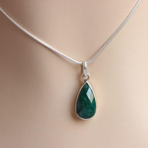 Buy emerald pendant necklace tear drop pendant green silver emerald pendant necklace tear drop pendant green silver pendant aloadofball Images