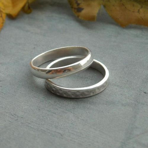 Platinum plated sterling silver wedding
