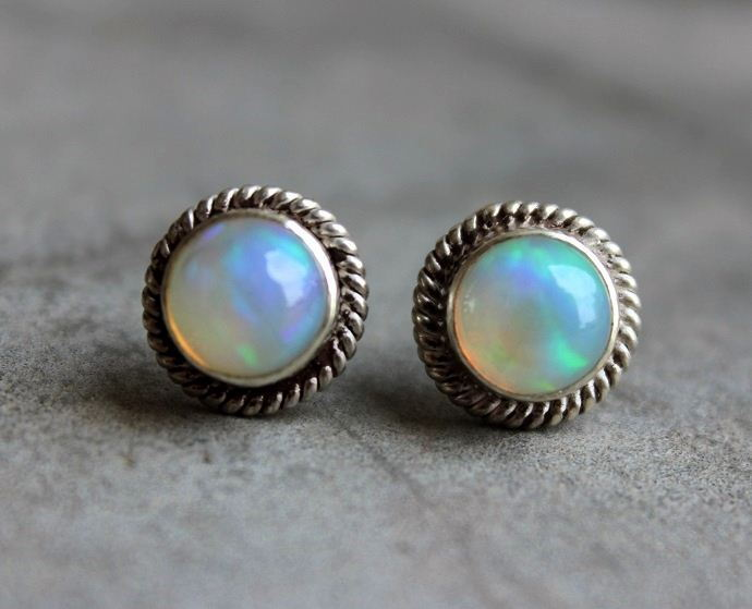 Opal silver Earrings Opal stud