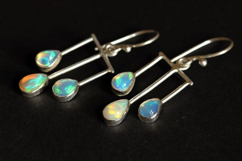 Genuine Opal Earrings Silver Dangler Online At Astudio1980