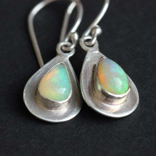 Genuine Opal Earrings Dangler Drop Handmade Silver