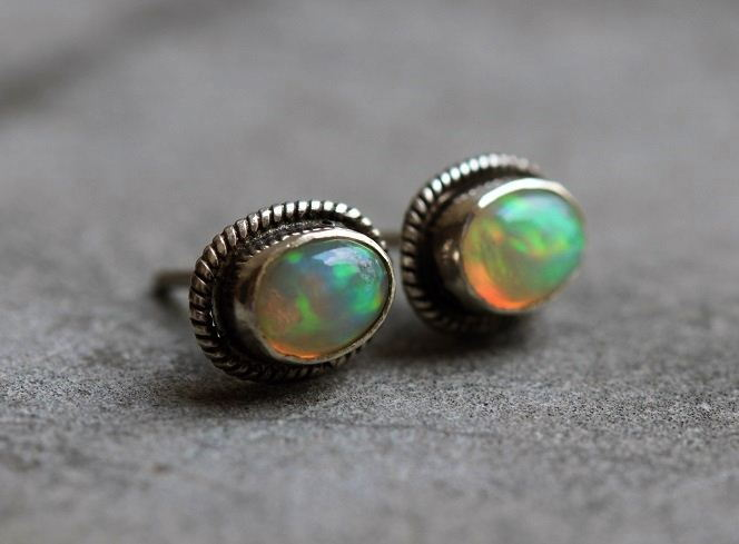 Genuine opal stud earrings in