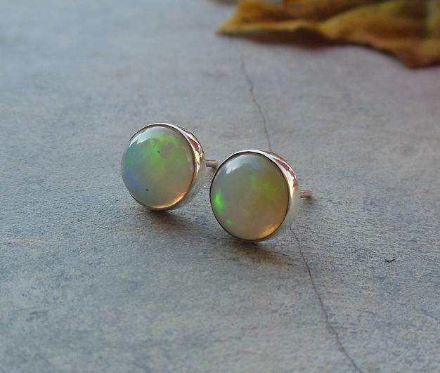 Real opal stud earrings silver