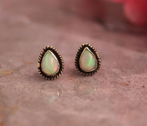 Natural Opal Stud Earrings In Sterling Silver Online At Astudio1980