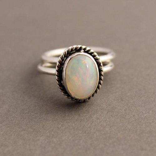 Genuine opal silver ring Natural