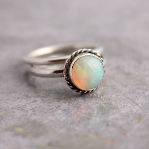Genuine opal ring October birthstone