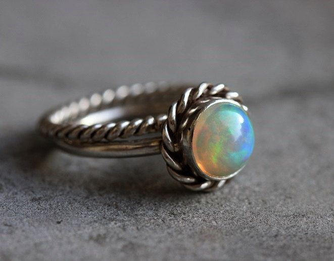 Ethiopian opal ring Stackable ring